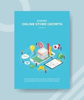 Concepto de tienda en línea para folleto de plantilla para imprimir con estilo isométrico