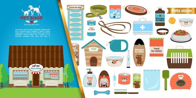 Concepto de tienda de mascotas plana