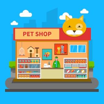 Concepto de tienda de mascotas