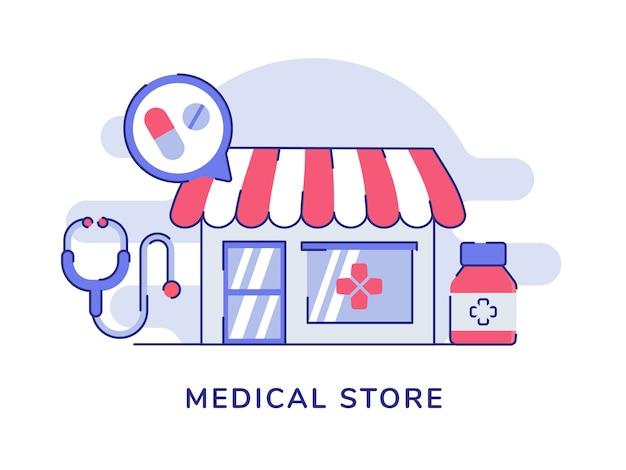 Concepto de tienda médica con estetoscopio y botella de píldoras con estilo plano