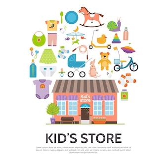 Concepto de tienda de niños plana