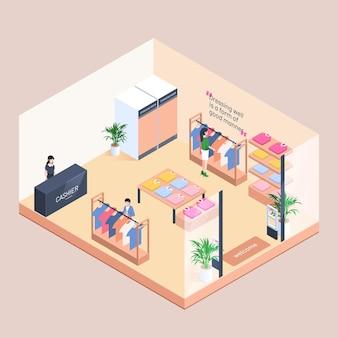 Concepto de tienda de ropa isométrica