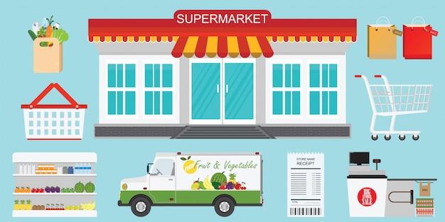 Concepto de tienda de supermercado.