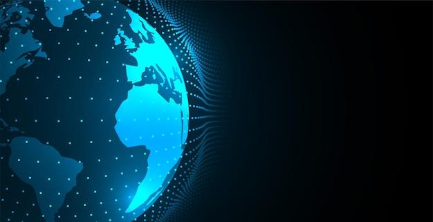 Concepto de tierra digital con esfera de puntos