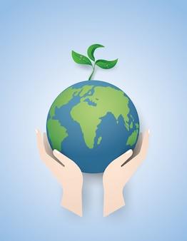 Concepto de tierra verde salvar el mundo.