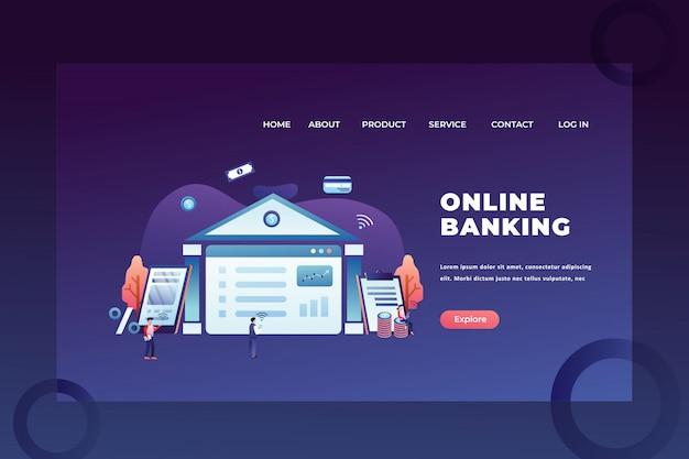 Concepto de tiny people para la banca en línea de negocios y finanzas página de inicio de encabezado de página web