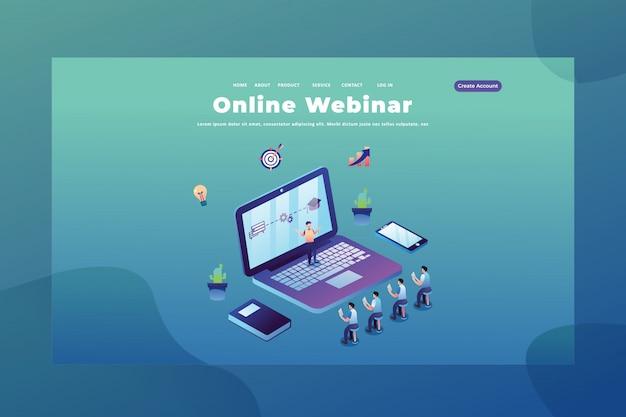 Concepto de tiny people para webinar en línea de educación página de inicio de encabezado de página web