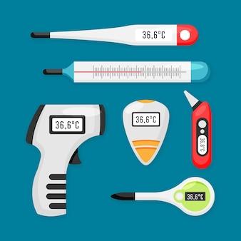 Concepto de tipos de termómetro plano