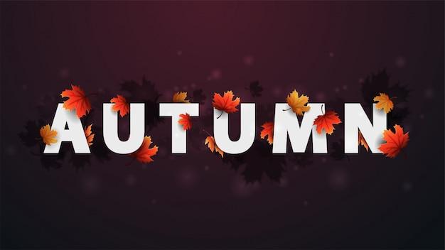 Concepto de título 3d de otoño. banner con texto blanco y hojas de otoño.
