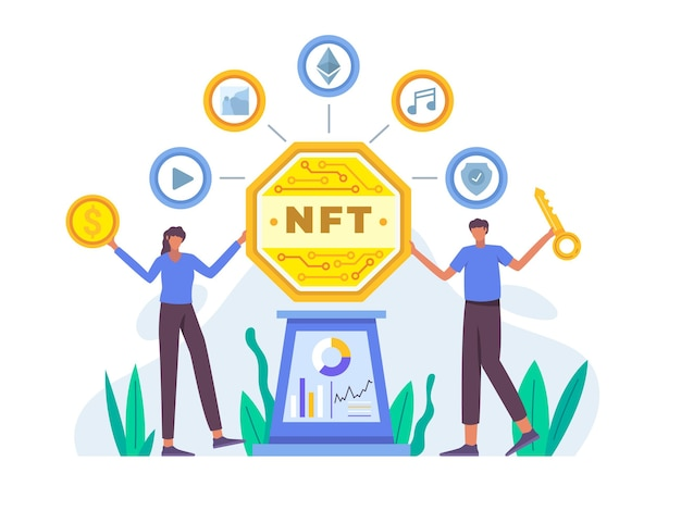 Concepto de token no fungible de ilustración plana