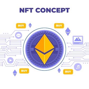Concepto de token plano no fungible