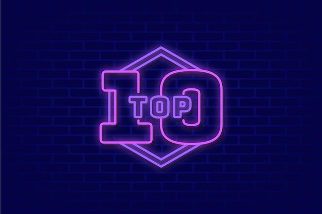 Concepto de top 10 de luces de neón