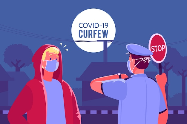 Concepto de toque de queda de coronavirus