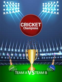 Concepto de torneo de cricket con estadio y trofeo.