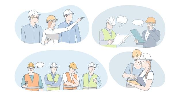 Concepto de trabajadores de ingeniería y construcción. ingenieros de personas, constructores y gerentes con cascos protectores y uniformes que se comunican y discuten juntos sobre proyectos de construcción y planes de construcción