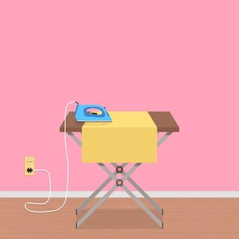 Concepto de trabajo de la casa con tabla de planchar y plancha de ropa.