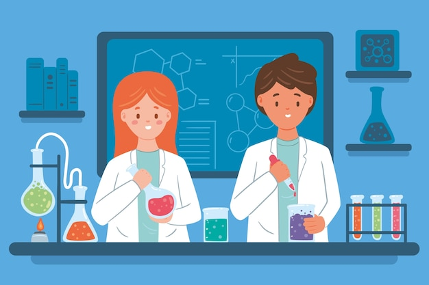 Concepto de trabajo de los científicos