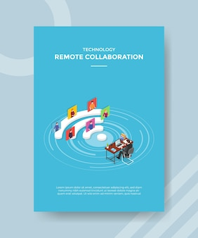 Concepto de trabajo de colaboración remota para banner y flyer de plantilla