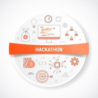 Concepto de trabajo empresarial hackathon con concepto de icono con ilustración de forma redonda o circular