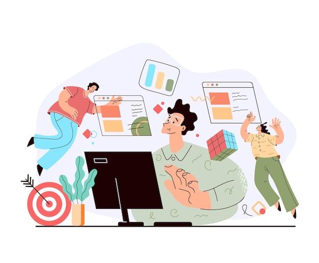 Concepto de trabajo en equipo de asociación de intercambio de ideas de negocios