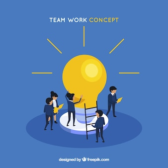 Concepto de trabajo en equipo con bombilla