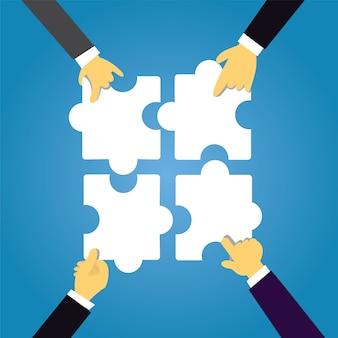 Concepto de trabajo en equipo conectando acertijos