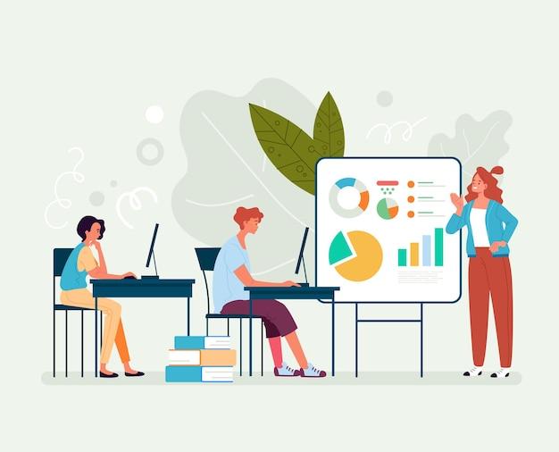 Concepto de trabajo en equipo de conferencia de motivación de altavoz de taller de supervisor. ilustración plana