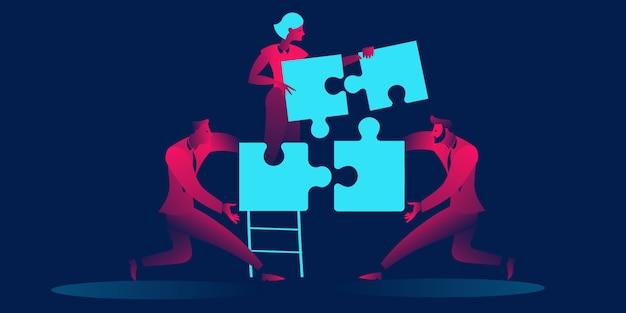 Concepto de trabajo en equipo, cooperación, asociación.
