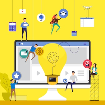 Concepto de trabajo en equipo para crear cursos de e-learning en línea en el escritorio. ilustrar.