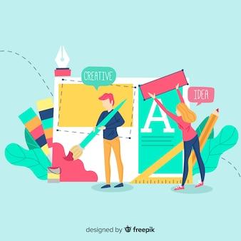 Concepto trabajo en equipo diseño gráfico