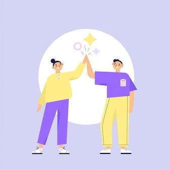 Concepto de trabajo en equipo. dos personajes mujer y hombre dando cinco. ilustración de vector plano