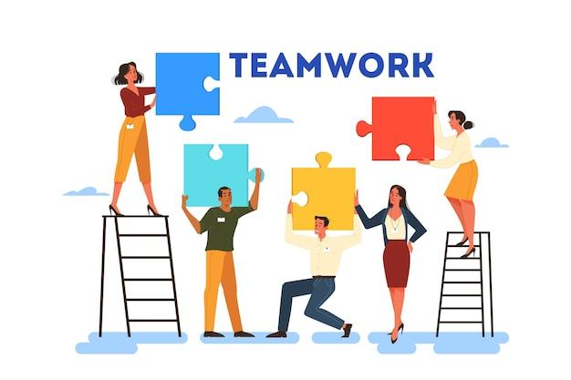 Concepto de trabajo en equipo empresarial. idea de asociación y cooperación. conexión y comunicación. puzzle como metáfora de unidad y solución.
