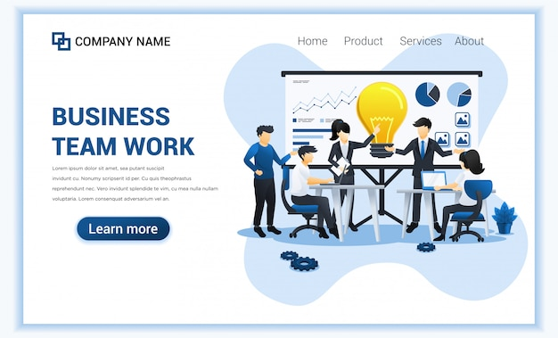 Concepto de trabajo en equipo empresarial con personas en reunión y presentación. se puede usar para banner web, marketing empresarial, estrategia de contenido, página de inicio, diseño web. ilustración plana