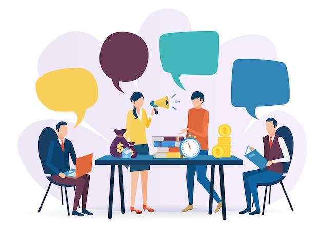 El concepto de trabajo en equipo empresarial. soluciones de problemas de negocios. entrenamiento corporativo. ilustración del vector en estilo plano.