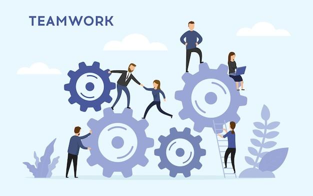 Concepto de trabajo en equipo empresarial.