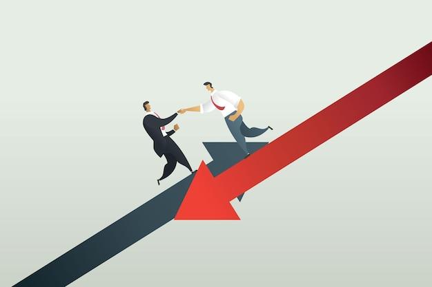 Concepto de trabajo en equipo empresarios tomados de la mano para ayudar a las pérdidas empresariales a la quiebra de la crisis