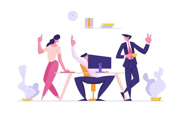 Concepto de trabajo en equipo exitoso con grupo de gente de negocios sonriente personajes ilustración