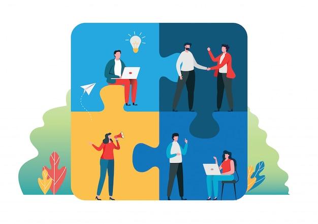 Concepto de trabajo en equipo exitoso juntos