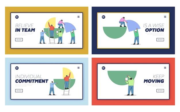 Concepto de trabajo en equipo, formando informe comercial. página de destino del sitio web.