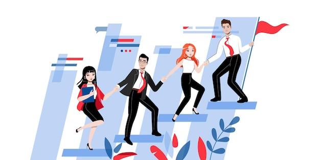 Concepto de trabajo en equipo. grupo de empresarios trabajan juntos hacia un punto común de éxito. hombres y mujeres de negocios alegres van juntos hacia la meta