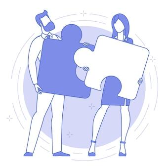 Concepto de trabajo en equipo de icono azul de línea delgada.