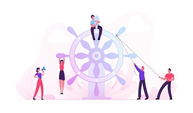 Concepto de trabajo en equipo. ilustración plana de dibujos animados