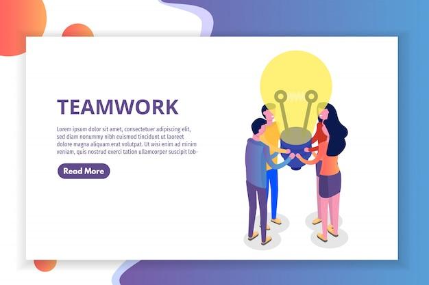 Concepto de trabajo en equipo isométrico, personas que trabajan juntas, solución de equipo de negocios. ilustración.