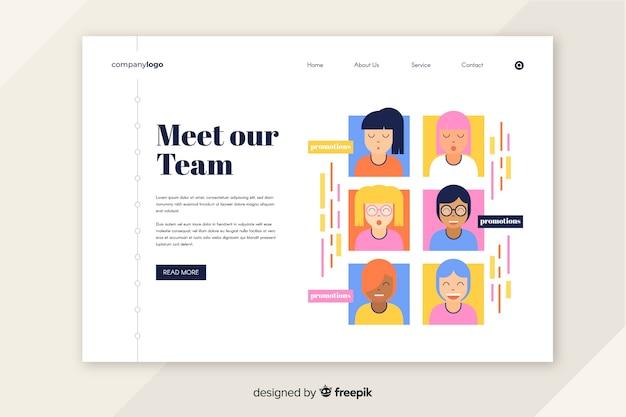 Concepto de trabajo en equipo para landing page