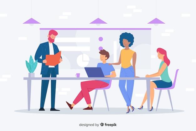 Concepto de trabajo de equipo para landing page