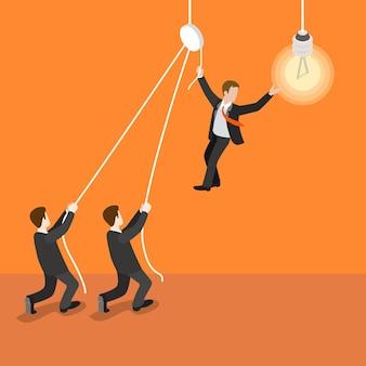 Concepto de trabajo en equipo de líder de liderazgo isométrico plano 3d