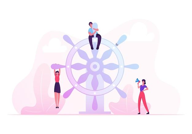 Concepto de trabajo en equipo, liderazgo y gestión. ilustración plana de dibujos animados