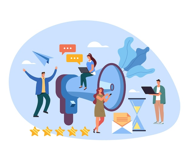 Concepto de trabajo en equipo de medios de publicidad de promoción de objetivos de altavoces de marketing