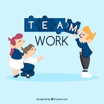 Concepto de trabajo en equipo de negocios con diseño plano