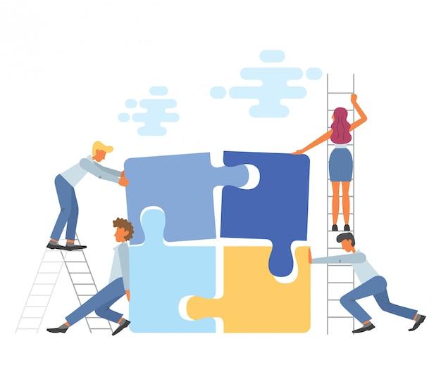 Concepto de trabajo en equipo de negocios en la ilustración de estilo plano